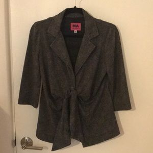 Maternity blazer; black and gray